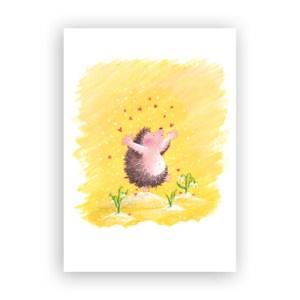 Afbeelding wenskaart egeltje met hartjes