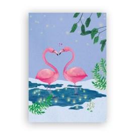 Afbeelding wenskaart verliefde flamingo's