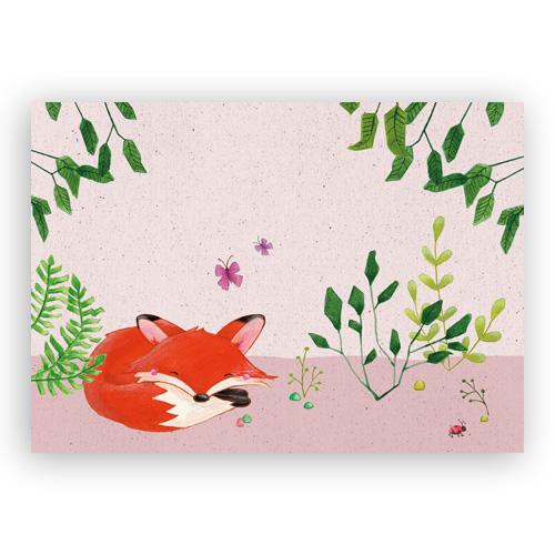 Afbeelding print slapend vosje