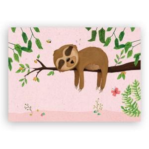 Afbeelding print luiaard roze