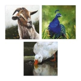 Set van 3 wenskaarten: boerderijdieren in olieverf