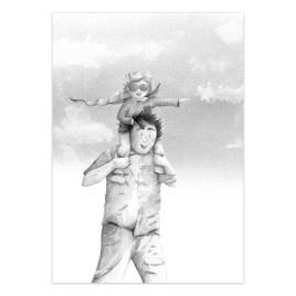 Poster: Papa met superheld (zwart wit)