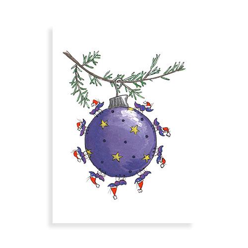 "Voorkant wenskaart ""Kerstbal met miertjes"""