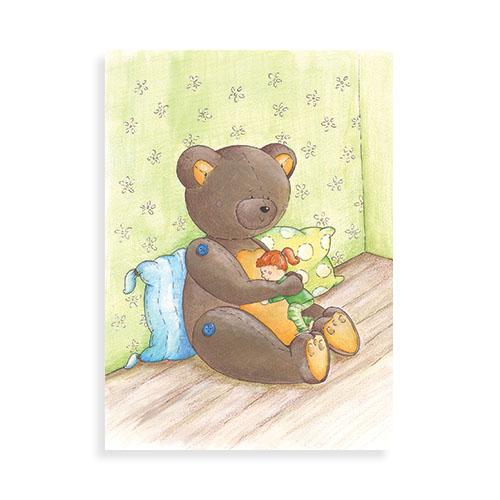 """Voorkant ansichtkaart """"Knuffelbeer"""""""