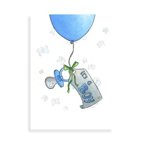 """Voorkant ansichtkaart """"Ballon: It's a boy!"""""""
