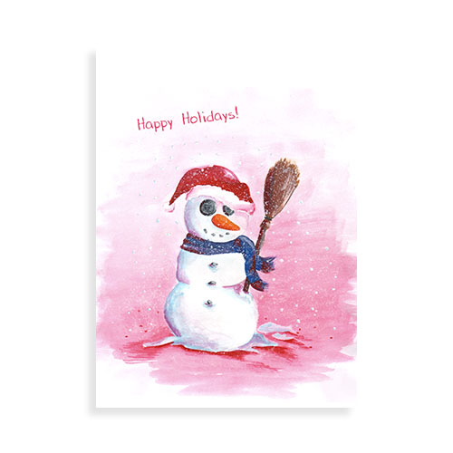 "Voorkant kaart ""Happy Holidays sneeuwpop"""