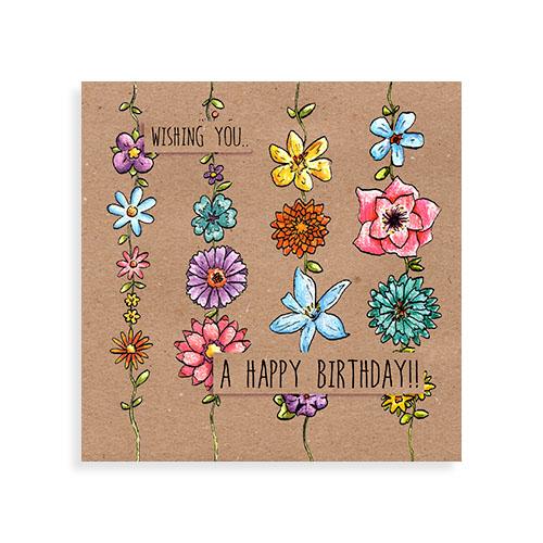 """Voorkant kaart """"Happy birthday flowers"""""""