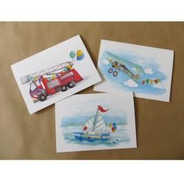 Set van 3 wenskaarten: vrolijke voertuigen