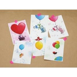 Setje 6 ansichtkaarten, thema: Ballonnen