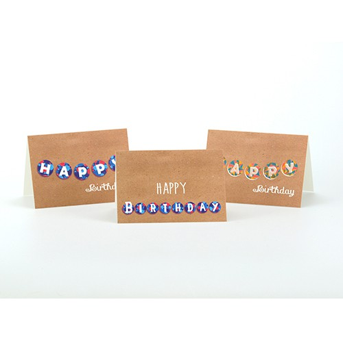 Setje van 3 wenskaarten, thema: Verjaardag