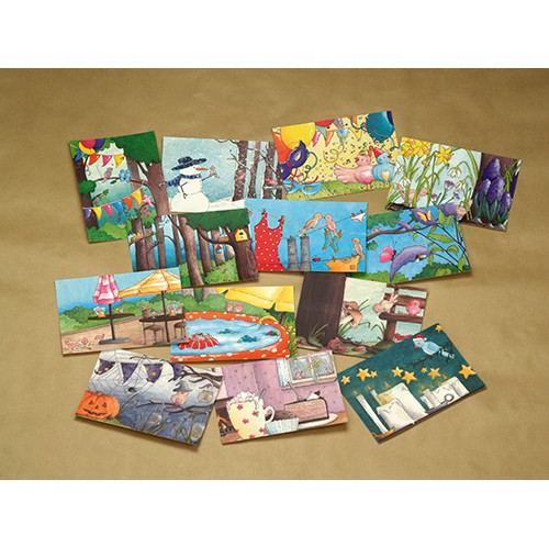 Setje 13 ansichtkaarten, illustraties verjaardagskalender