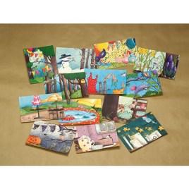 Setje van 13 ansichtkaarten: Kalender illustraties