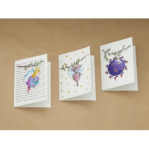 Setje van 3 wenskaarten, thema: kersthangers