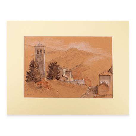 Afbeelding pasteltekening vallei Arfanta