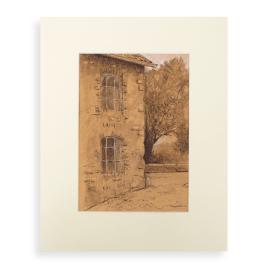 Afbeelding van de pasteltekening, bij de watermolen van Epen