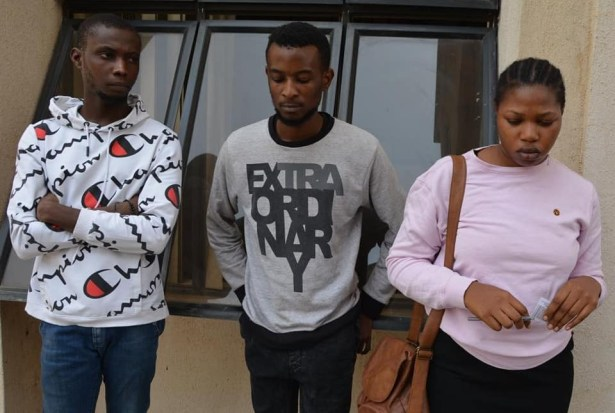 Photos: Male and female suspected internet fraudsters apprehended in Abuja, Benz and other luxury items recovered