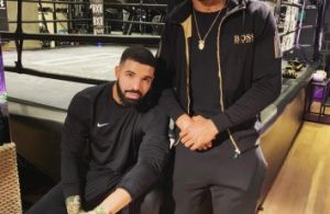 Drake pictured with world heavyweight boxing champion Anthony Joshua