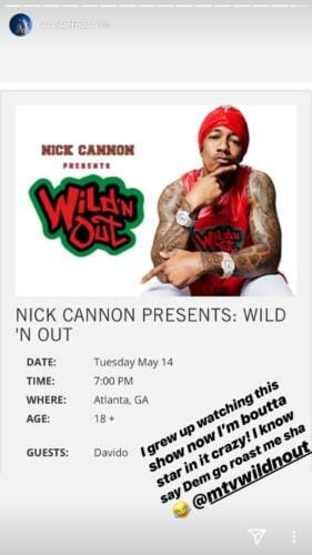 Davido Set To Make Star Appearance On Nick Cannon's Comedy Show, Wild 'N Out