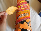 Better Made Special, you've got some runner up competition in these Golden Flake chips! They are a bit on the thin side, but they have a crispy crunch and a good seasoning blend. with the right amount of smoky flavor and just enough sweet to mitigate the heat. These were purchased in a grocery store in Van Buren, Arkansas, but the company has its roots in Alabama.