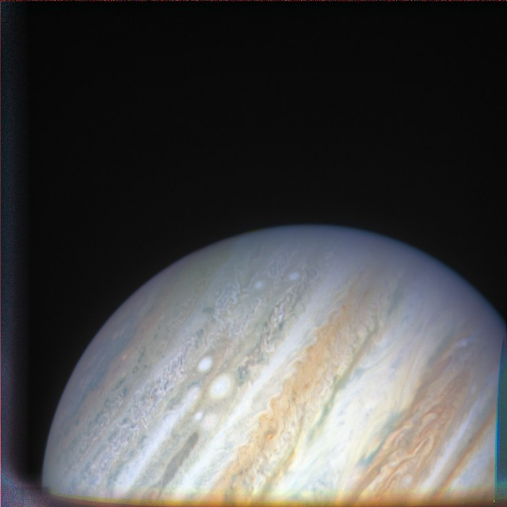 Image of Jupiter showing the plume removed and the shading corrected.