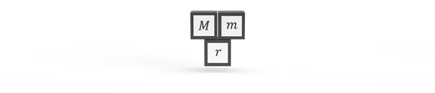 Mass inputs of two bodies M and m, and the distance r between them