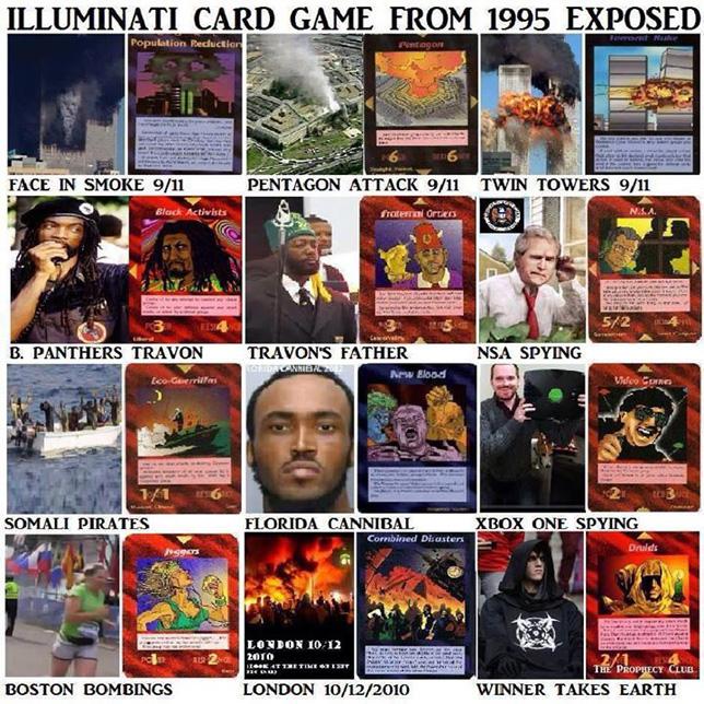 Predictions in Steve Jackson's Illuminati card game, 1995 version