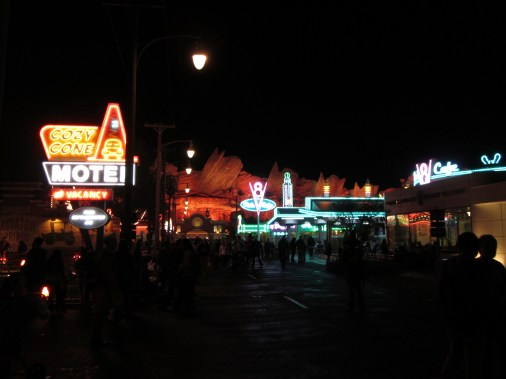 While most areas of Disneyland are beautiful at night, I wouldn't necessarily say they're better at night than they are during the day. However, Cars Land and Paradise Pier both improve dramatically after dusk.