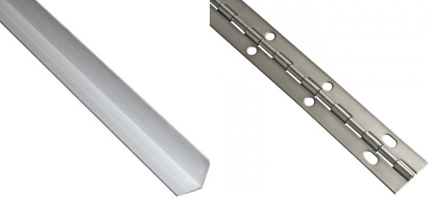 Angle and piano hinge