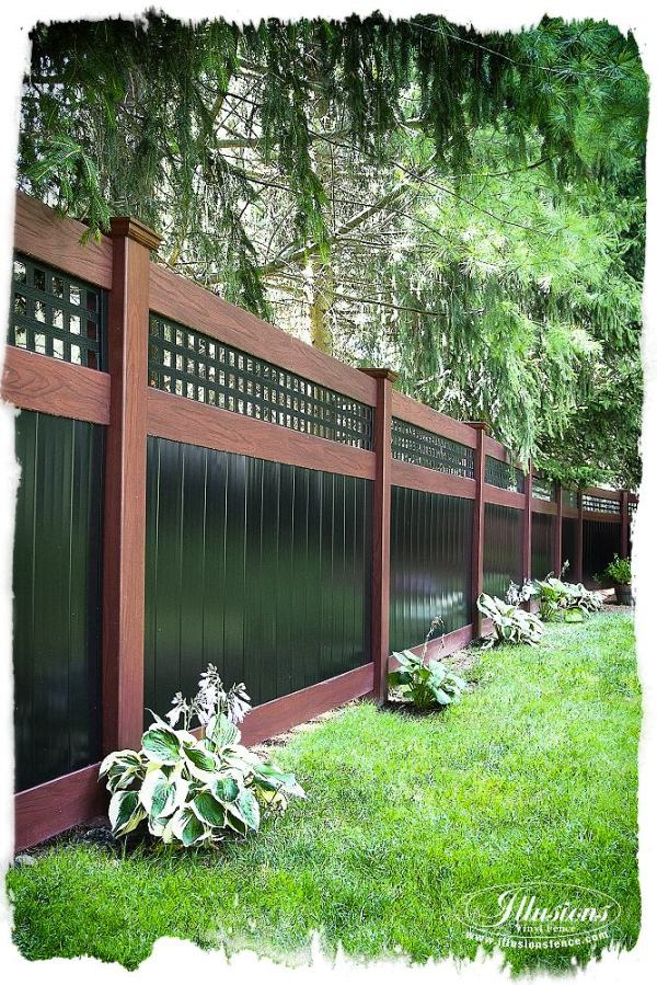 rosewood and black pvc vinyl privacy