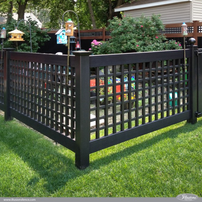 Black pvc vinyl old english lattice fence with new england