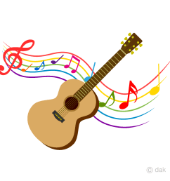 guitar and colorful note music clipart [ 960 x 960 Pixel ]