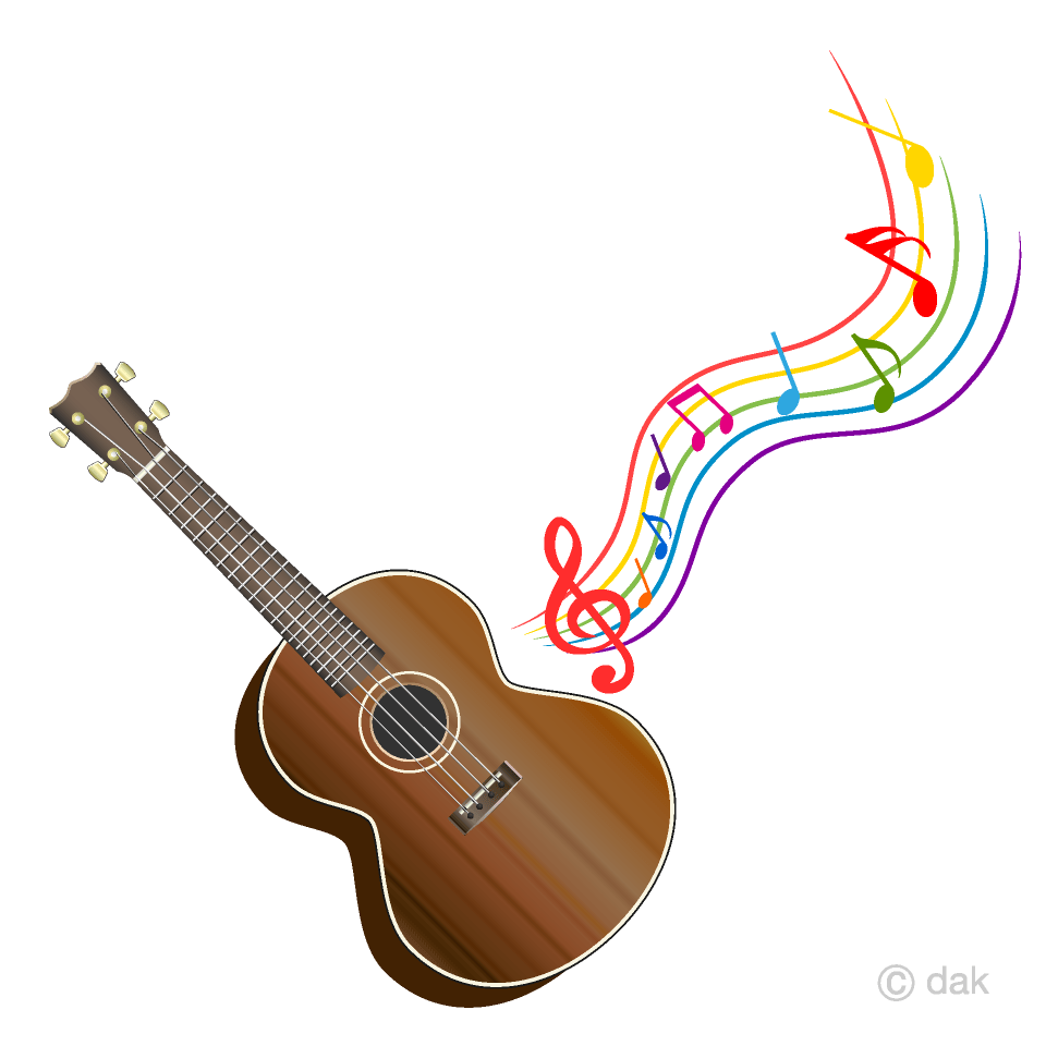 hight resolution of ukulele and colorful music note clipart