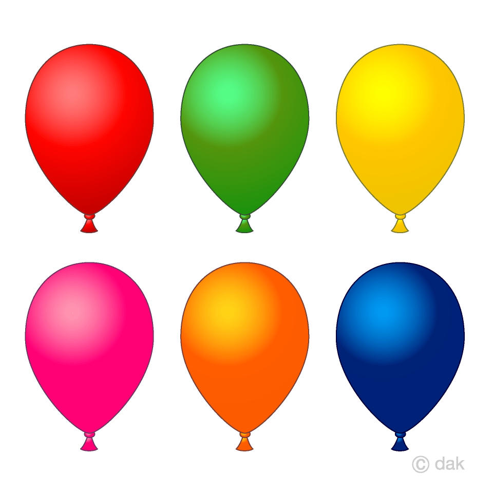 hight resolution of 6 color balloons clipart