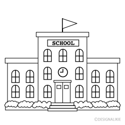 Black and White School Building Free PNG Image|Illustoon