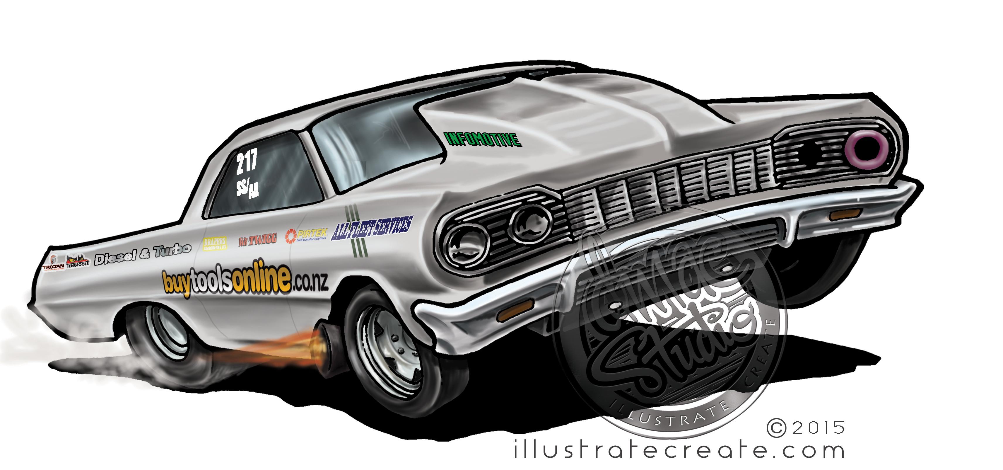 Cartoon drag car