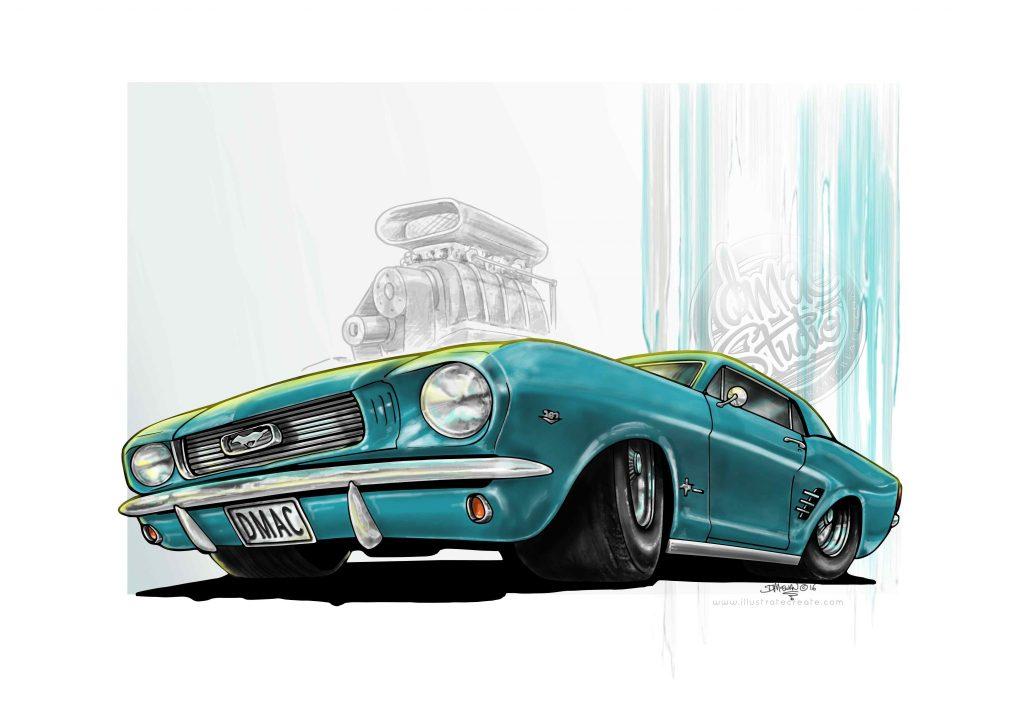 mustang art illustration drawing