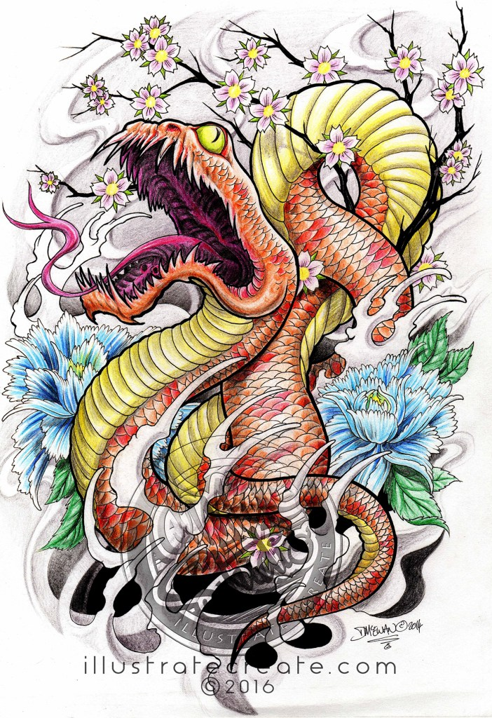 Japanese snake Drawing