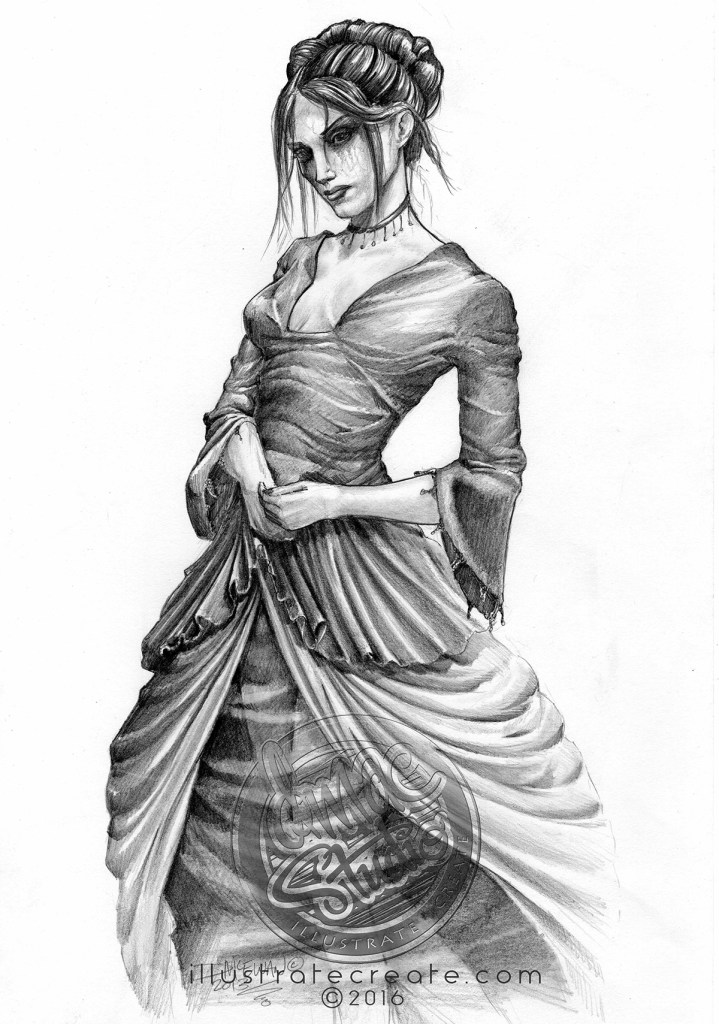 Victorian dress fashion drawing