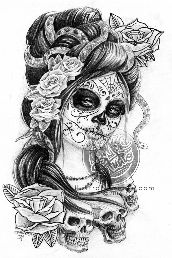 Day of the dead girl drawing