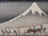 Hokusai, Mt. Fuji in a snowstorm, woodblock print