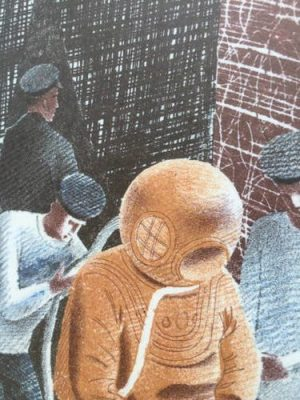 Eric Ravilious, 'The Diver', Camberwell Press lithograph.