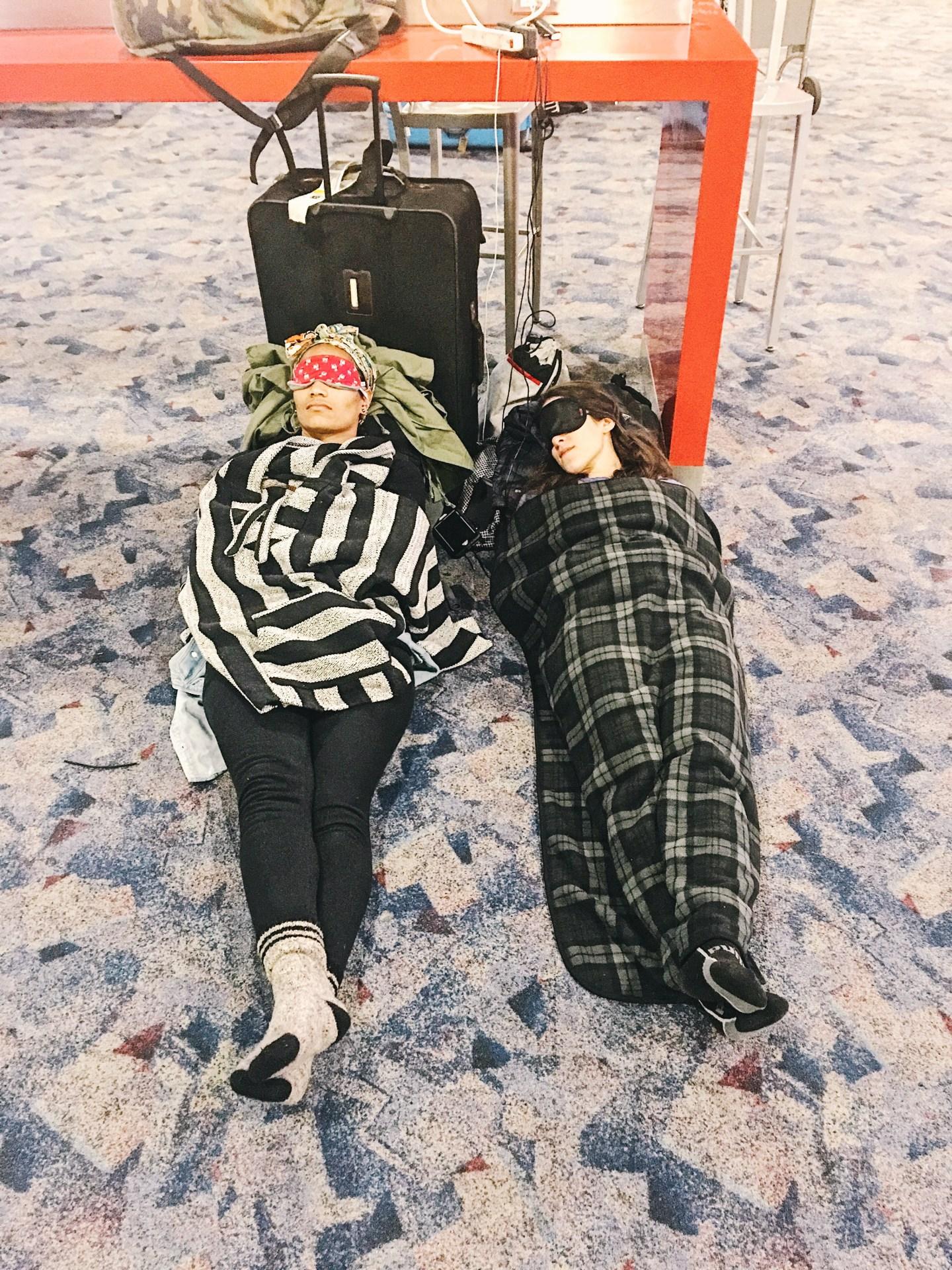 Illustrated by Sade - Sleeping in the McCarran Airport in Las Vegas Nevada