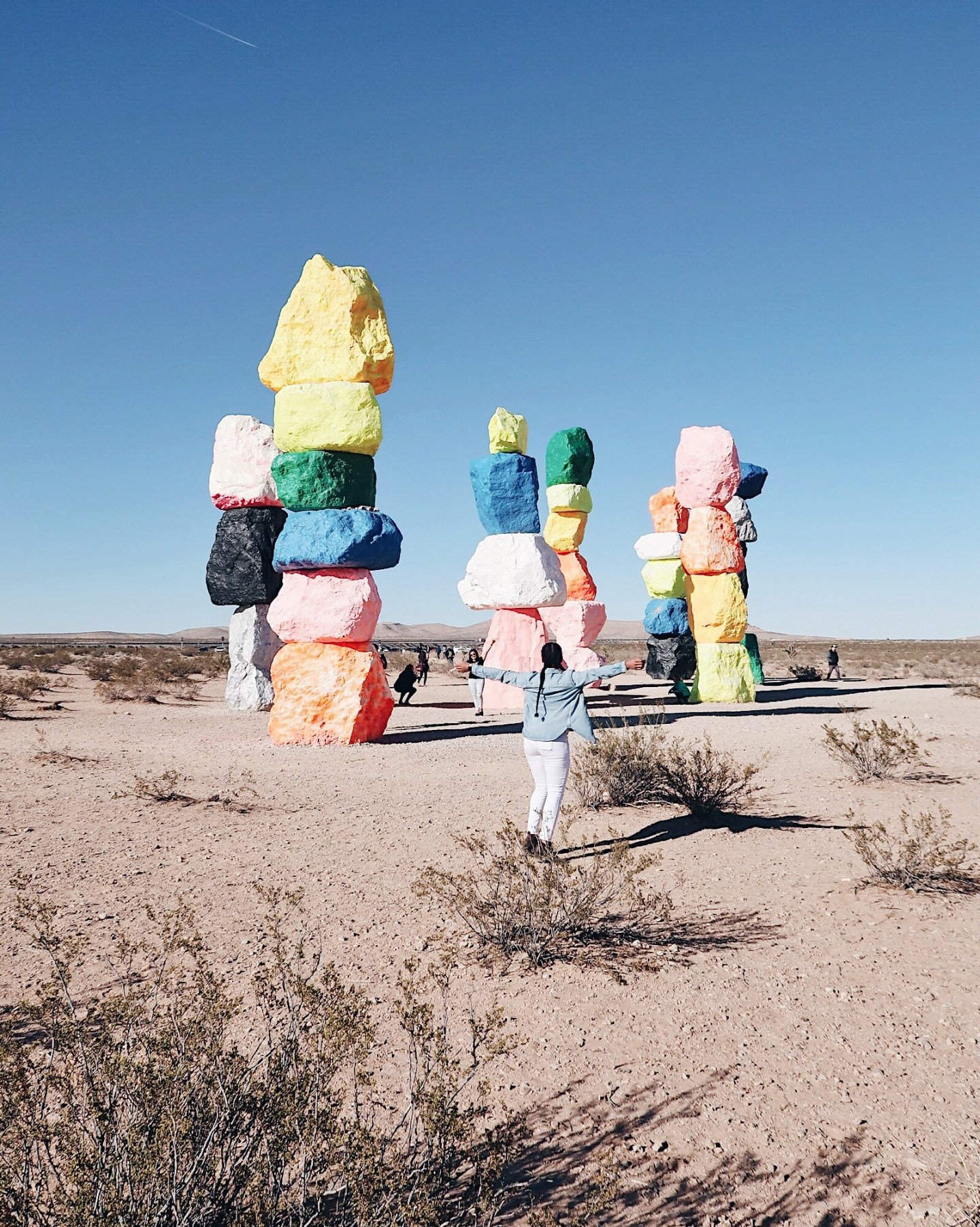Illustrated by Sade - Woman taking a photo at Seven Magic Mountains in Las Vegas, Nevada.