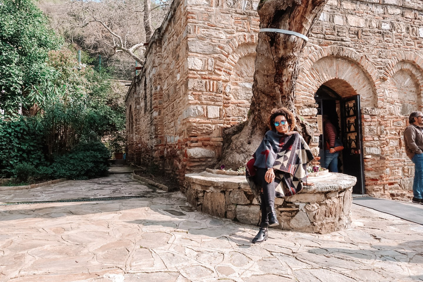 Illustrated by Sade - Sitting in front of the House of the Virgin Mary in Ephesus, Turkey