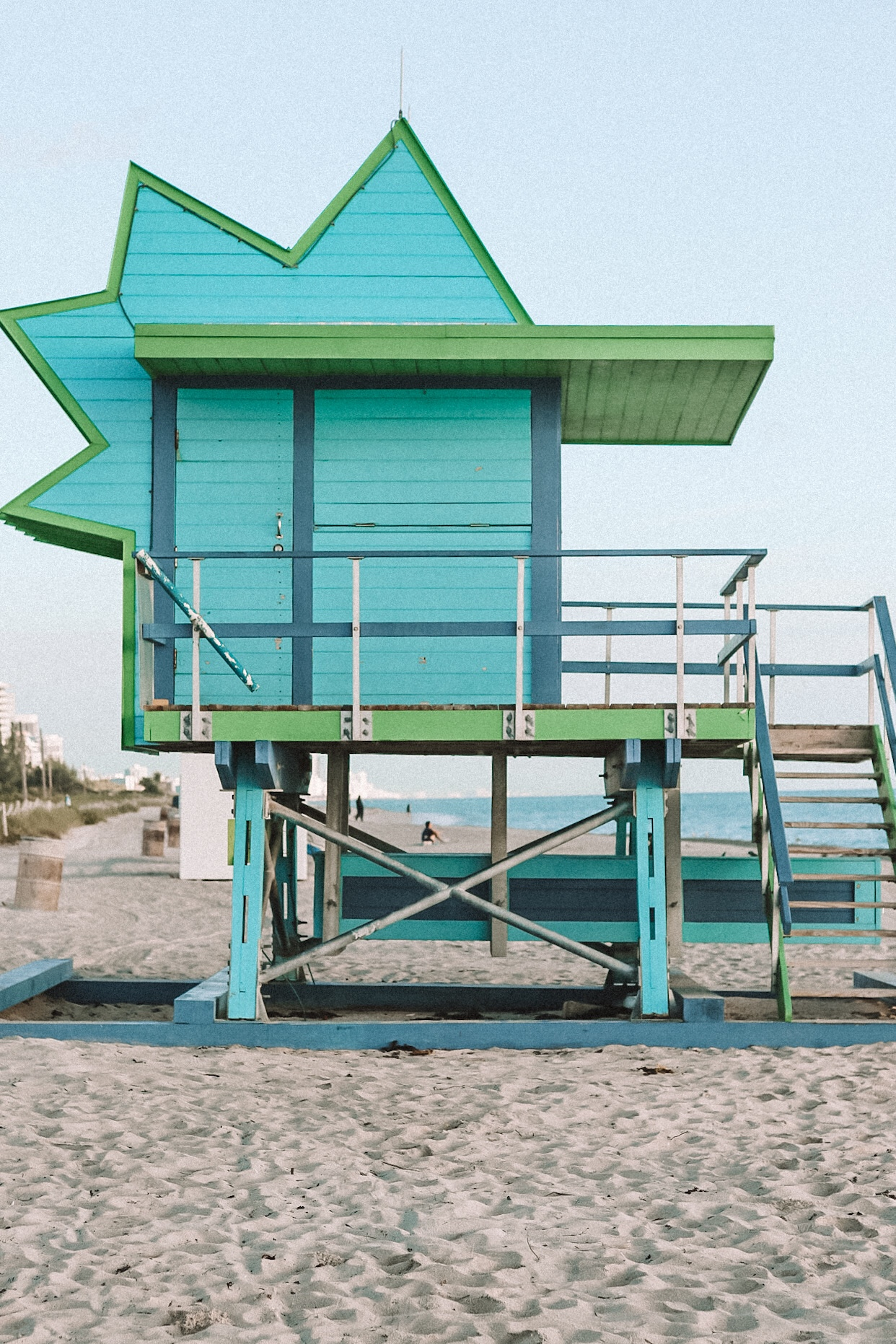 Illustrated by Sade - Colorful Lighthouse in South Point Beach in Miami, Florida