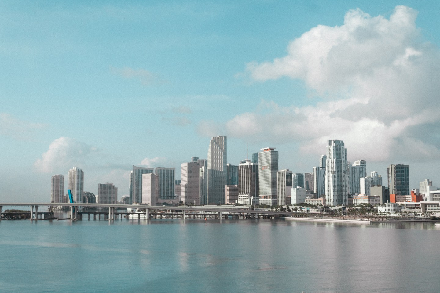 Illustrated by Sade - Instagrammable spot for photography of Miami skyline from McArthur Causeway.