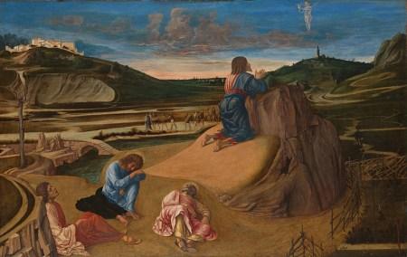 The Agony in the Garden, by Giovanni Bellini, c. 1465. National Gallery, London, United Kingdom. Via IllustratedPrayer.com