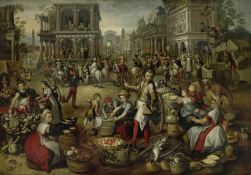 Marketplace, with the Flagellation, the Ecce Homo and the Bearing of the Cross in the background, by Joachim Bueckelaer, c. 1550 - 1590. Rijks Museum, Amsterdam, Netherlands.