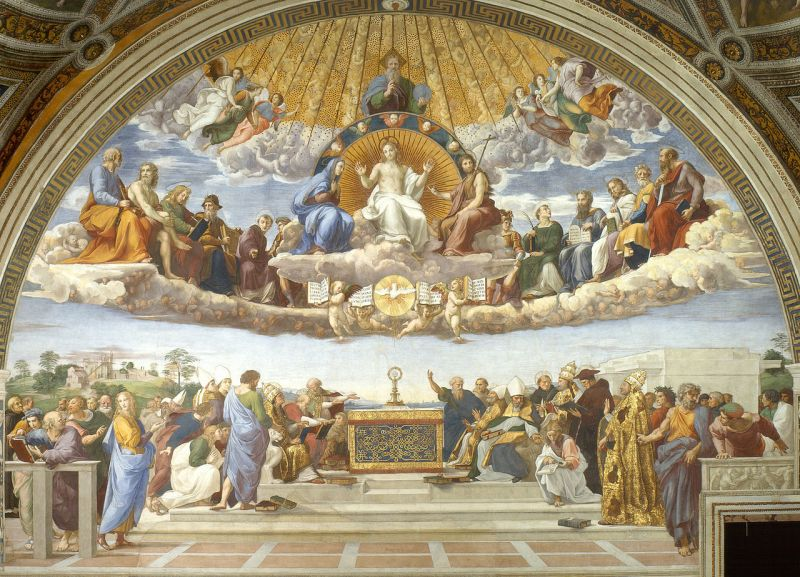 The Disputation of the Holy Sacrament, by Raphael, c. 1509-10. Musei Vaticani, Vatican City. Via IllustratedPrayer.com