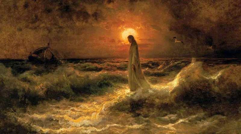 Christ Walking on the Water, by Julius Sergius Von Klever, c. 1880. Private collection. Via IllustratedPrayer.com